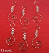 Diamond Swirled Beaded Holiday Ornament Hooks 12 Christmas Decoration Hangers