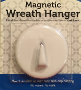White Magnetic Wreath Hanger Holder Hook - For Steel Doors - No Nails or Wires! Holds up to 2.7kg.