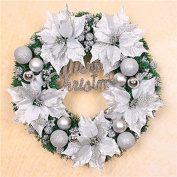 ZZYDECOR-Fashion Creative Christmas Home Decor Christmas Wreath Garland for Outdoor and Indoor Decoration, 50cm,silver