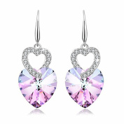 PLATO H Heart of Ocean Earrings with Crystals Fashion Jewellery Valentines Day Gift for Her,Purple