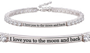 """ALOV Jewellery Sterling Silver """"I love you to the moon and back"""" 4mm Cubic Zirconia Tennis Bracelet"""