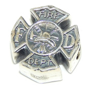 """Solid 925 Sterling Silver """"Fireman's Shield"""" Charm Bead"""