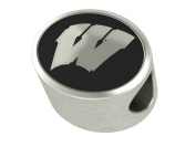 University Wisconsin Badgers Antiqued Bead Fits Most European Style Charm Bracelets
