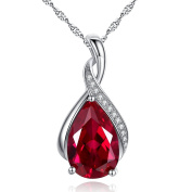 Mabella Sterling Silver Lab Created Emerald / Ruby Pendant Necklace, 46cm Gift for Valentine's Day