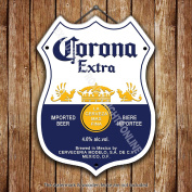 Corona Extra Lager Beer Advertising Bar Old Pub Beer Advertising Bar Old Pub Drink Pump Badge Brewery Cask Keg Draught Real Ale Pint Alcohol Hops Shield Shape Metal/Steel Wall Sign