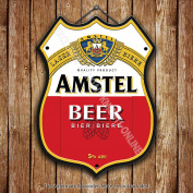 Amstel Lager Beer Classic Advertising Bar Old Pub Beer Advertising Bar Old Pub Drink Pump Badge Brewery Cask Keg Draught Real Ale Pint Alcohol Hops Shield Shape Metal/Steel Wall Sign
