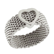 Heart Mesh Band 8mm wide Solid .925 Silver ring designer