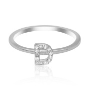 JewelMore Sterling Silver Diamond Accent stackable Initial Ring