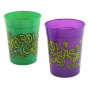 Fun Express Deluxe Mardi Gras Plastic Cups - 350ml - 12 Pack