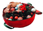 Heavy Duty Circular Christmas Wreath Storage Bag 80cm Premium Red Holiday Garland Storage Bag, Red 30 by K-Cliffs