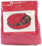 Essentialhome Wreath Storage Bag 80cm Diameter X 13cm Tall with Zipper and Carrying Handle- Red.