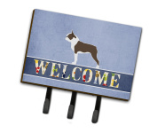 Caroline's Treasures BB5548TH68 Boston Terrier Welcome Leash or Key Holder , Triple, multicolor
