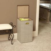 Tan/Brown Chevron Laundry Hamper with Lid, Sturdy Polyester, Polypropylene, Magnet Front Flap, Water Resistant Liner, Lightweight