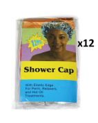 Elysee Star 12 Pieces (144 Pc) Disposable Shower Caps Colour Transparent Multicolour (#2080) - With Elastic Edge For Perm, Relaxers & Hot Oil Treatments - One Size Fits All
