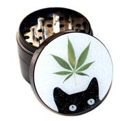 Leaf Cat Design Large Size 6.4cm Black Grinder With Scraper & Velvet Pouch # BKG020817-1