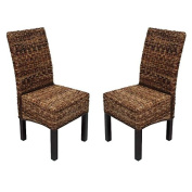 2x Dining chair wicker chair backrest M69 chair BALI banana braid, dark without cushion