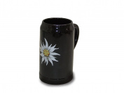 Sunny Toys 14989 Porcelain Beer Stein 1 L Dishwasher-Safe Black with Edelweiss Flower Design