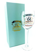 60th Birthday Gift Wine Glass With Sentiments - Gift Boxed