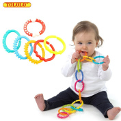 TOLOLO Baby 6 Links Accessory Toy Teether Toy Rainbow Circle Ring