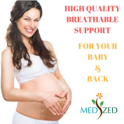 MEDIZED Maternity Belt, Breathable Abdominal Binder, Back Support, Belly Band, Belly Support, One Size, Beige