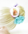 Large Blue Purple Rose Flower Bun Garland Headband Hair Holder Floral Wrap 1805 *EXCLUSIVELY SOLD BY STARCROSSED BEAUTY*