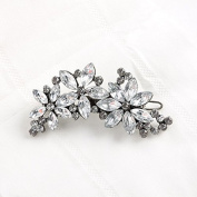 Rhinestone Flower Crystal Bridal Bridesmaid Hair Clip Wedding Silver tone Hair Accessory