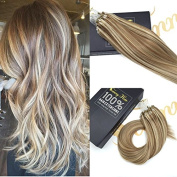 Sunny Light Brown with Blonde Micro Ring Loop Human Hair Extensions 60cm 1g/Strand Dip Dyed Remy Micro Loops Extensions 50g
