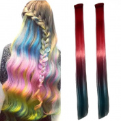 Miya® 1 Piece Clip In Hair Extensions Hair Wigs Synthetic Hair with Attractive Gradient Colour, Very Nice Accessoire for your party, fancy dress, Carnival, Fixed, Black/Bright Red