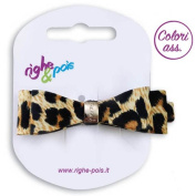 221 - 509 Spout for Hair cm 6 Leopard Print Double Bow Fabric with Buckle Clips - for hair Beige-Nero
