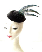 Black Blue Green Peacock Feather Pillbox Hat Races Fascinator Headpiece Vtg 1834 *EXCLUSIVELY SOLD BY STARCROSSED BEAUTY*
