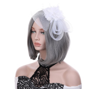 VGLOOK Flower Feather Headband Mesh Fascinator Wedding Headwear For Ladies Day Race Royal Ascot White