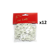 1st Lady - Rubber Hair Bands Colour White - 3000pc (1Dozen) #560