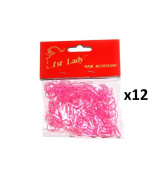 1st Lady - Thin Silicon Rubber Hair Bands Hot Pink & Light Pink Colour - 3000pc (1 Dozen) #597