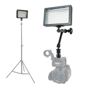 Foto & Tech Professional 160 LED Dimmable Ultra High Power Panel Video Light for All Cameras Camcorders 4K Video Photo Shoot weddings Easy Mount + 28cm Adjustable Magic Arm + 3 Filters + Carry Case