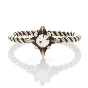 Laonato Oxidised .925 Sterling Silver Starburst CZ Twisted Ring