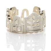 Laonato .925 Sterling Silver N002 Buildings Skyline Ring Adjustable Size