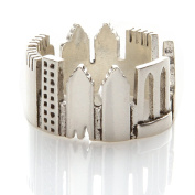 Laonato .925 Sterling Silver N003 Buildings Skyline Ring Adjustable Size