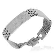 Stainless Steel Silver-Tone Padre Nuestro Prayer in Spanish Mens Bracelet, 21cm