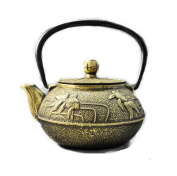 Japanese Cast Iron Pot Goldfish Pattern Enamel Wall Boiled Water Tea 0.8L