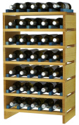 expovinalia ex2735 - Stackable Wine Rack for 35 Bottles, Wooden, Pine and Blue