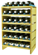 expovinalia ex2730 - Stackable Wine Rack for 30 Bottles, Wooden, Pine and Blue