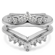 1 ct. Diamonds (G-H,I2-I3) Gorgeous Chevron Style Ring Guard Enhancer in Sterling Silver (1 ct. twt.)