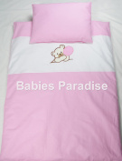 Babies 2 Piece Baby Bed Linen Applique with Bear Design Pink