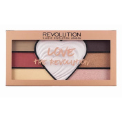 Makeup Revolution - Valentine gift - Love The Revolution Eye Palette - with 6 eye-shadow shades and a highlighter heart in the middle - Makeup Kit, gift