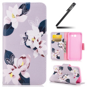 Galaxy J3 2017 Case, Galaxy J3 2017 Cover, Ukayfe Flower Animal Cartoon Pattern Pink PU Leather Wallet Case Book Style Flip Folio Protective Cover Coin Card Pocket Wallet Money Pouch for Samsung Galaxy J3 2017, Lily Floral