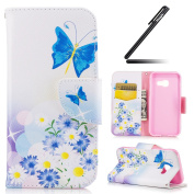 Galaxy A3 2017 Case, Ukayfe Black Wallet Case for Samsung Galaxy A3 2017, Elegant Blue Butterfly Design PU Leather Case, Flip Folio Book Case, Money Pouch Wallet Cover with Stand Function, Card Slots & ID Holder and Magnetic Closure for Samsung Galaxy ..