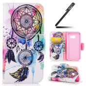 Galaxy A3 2017 Case, Galaxy A3 2017 Cover, Ukayfe Flower Animal Cartoon Pattern PU Leather Wallet Case Book Style Flip Folio Protective Cover Coin Card Pocket Wallet Money Pouch for Samsung Galaxy A3 2017, Colourful Campanula Dreamcatcher