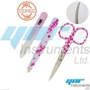 Nail Scissors Curve Pink Eyebrow Tweezers Nail Glass File Beauty Makeup Set