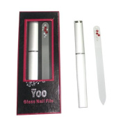 TRUYOO Crystal Glass Nail File Manicure Pedicure Art Files with Hard Case - Red
