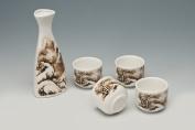 Sake set made of white porcelain with Decoration Sake Set Landschaft